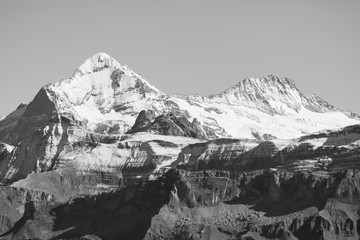 Alpine panorama on a beautiful autumn day in the Bernese Oberland in Switzerland