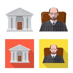 Vector illustration of law and lawyer symbol. Collection of law and justice stock vector illustration.
