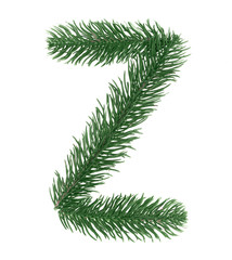 Letter Z, English alphabet, collected from Christmas tree branches, green fir. Isolated on white background. Concept: ABC, design, logo, title, text, word