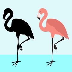 flamingo  bird ,black silhouette ,flat style