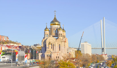 Vladivostok, construction of the Spaso-Preobrazhensky Cathedral near the Central square of the city