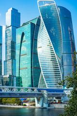 Obraz the Embankment of Taras Shevchenko.Bagration Bridge. center Moscow-city.City the Moscow 22.09.2018 - fototapety do salonu