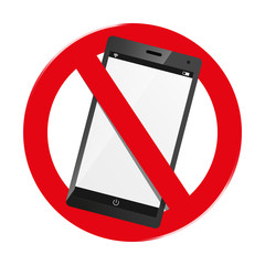 Do Not Use Smartphone - Mobile Devices Forbidden Sign - Isolated On White Background