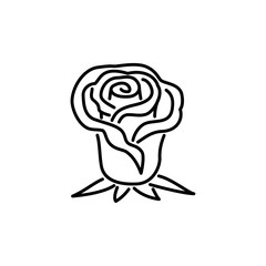 Black & white vector illustration of rose flower. Line icon of ornamental floral plant. Gardening & landscaping. Isolated object