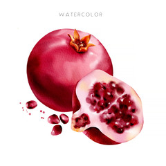 Red watercolor pomegranate. Watercolor illustration. For design, textile, packing. Can be used for greetings, invitations, posters.