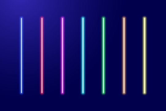 Neon luminescent glowing red, orange, yellow, green, blue, light-blue, purple, pink lines set or light laser swords. Vector illustration.