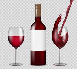Transparent wine bottle and wineglasses mockup. red wine splash in bottle and glasses isolated. Vector illustration.