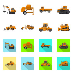 Vector illustration of build and construction sign. Set of build and machinery vector icon for stock.
