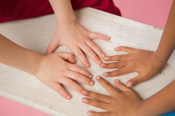 Close up of multiethnic children's hands