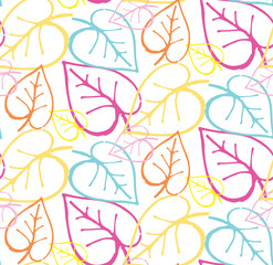 Hand drawn doodle leaves floral pattern background