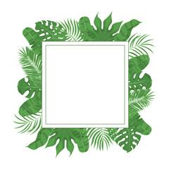 Hand drawn tropical leaves weddiing frame. Aralia, monstera, banana, coconut leaf border for invitation card. Vector isolated illustration.