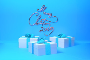 Merry Christmas 2019 lettering written in trendy blue color wall and three present gift boxes with bows beside. 3d illustration