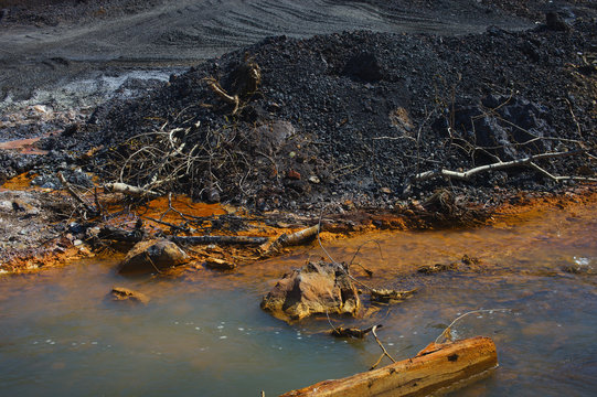 River contaminated by industrial waste. Karabash zone of ecological disaster.
