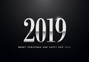 Merry Christmas and Happy New Year text design. Vector greeting illustration with silver numbers.