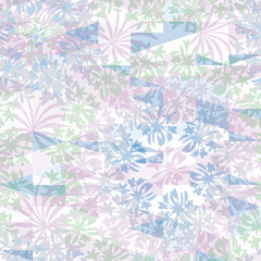 Abstract floral geometric seamless pattern with flowers and triangles. Psychodelic pattern in light pastel  for textiles, sportswear, swimwear, paper, web, apparel.