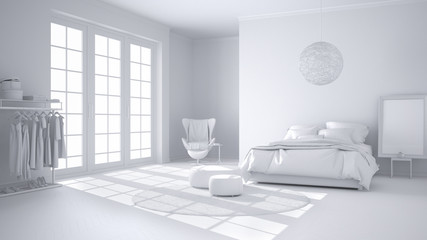 Total white project of comfortable modern bedroom with wooden parquet floor, panoramic window, carpet, armchair and bed with blanket and pillows, minimal interior design