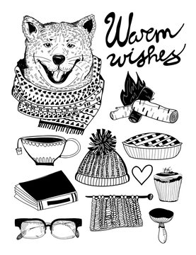 Cold weather cozy stuff. Graphic vector set. All elements are isolated