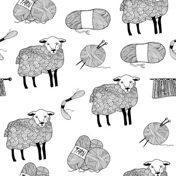 Hand drawn sheep and wool balls. Graphic vector seamless pattern