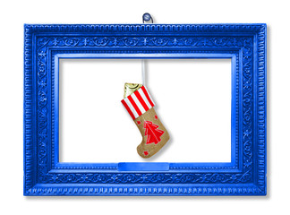Santa Claus's New Year sock with gifts, toys and serpentine