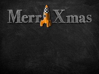 3d illustration rendering of chalk Merry Christmas wishes on blackboard with yellow rocket decoration