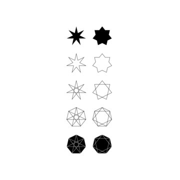 Set of different styles of seven pointed star and septagons.