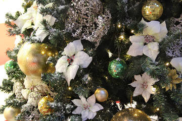 Beautiful Christmas decorations and golden balls
