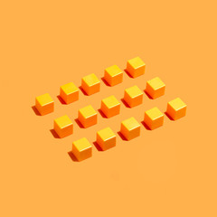 Concept of conformism: rows of yellow identical cubes