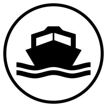 Motorboot Icon im Kreis