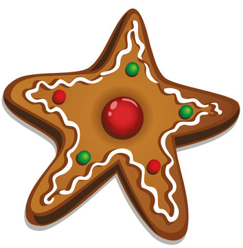 Leckeres Weihnachtsplätzchen. Stern mit Zuckerguss und Perlen. Weihnachtsbäckerei.