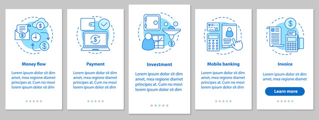 Banking onboarding mobile app page screen with linear concepts