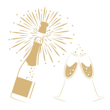 opened bottle of champagne and glasses for party and celebration vector illustration EPS10
