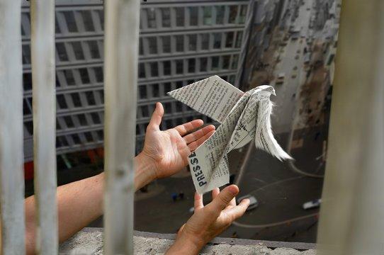 Ein Journalist lässt  eine aus einer Zeitung gefaltete Friedenstaube aus dem Fenster einer Gefängniszelle fliegen - Journalist with paper-bird in a prison cell