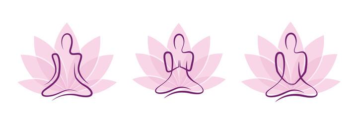 meditation yoga set pink lotus flower vector illustration EPS10