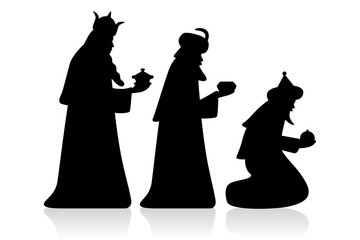 Holy three kings / silhouette, black, vector, isolated Wall mural
