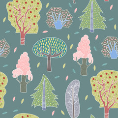 Hand drawn doodle trees. Graphic vector seamless pattern. Dark background
