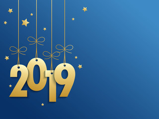 2019 on blue background with stars