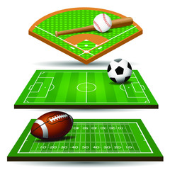 Sport field, ball and design elements. Football, rugby, baseball. Vector illustration