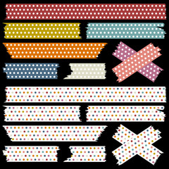 Tape Set Dots Retro Colours