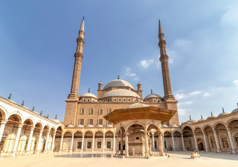 Exterior courtyard of The Great Mosque of Muhammad Ali Pasha or Alabaster Mosque with Wudu or Water Taps (faucet), is the Islamic procedure for washing the hands, mouth, nostrils, arms, head and feet
