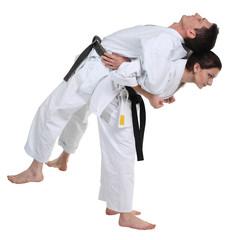 Karate, man in a kimono limberingup