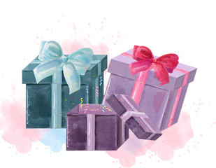 Gift boxes watercolor Vector isolated on white. Colorful painted styles