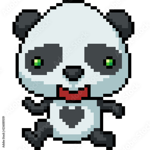 Vector Pixel Art Panda Happy Stock Image And Royalty Free Vector