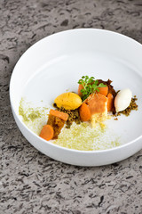 Fine dining dessert, Carrot cake,caramel ice cream, white chocolate mousse and spices