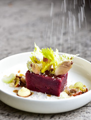 Fine dining dessert with apple and beetroot