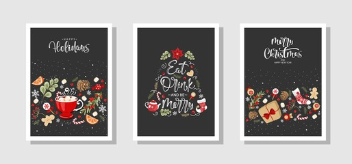 Set of Christmas and new year greeting cards in vintage style. Labels and holiday elements. Vector illustration.