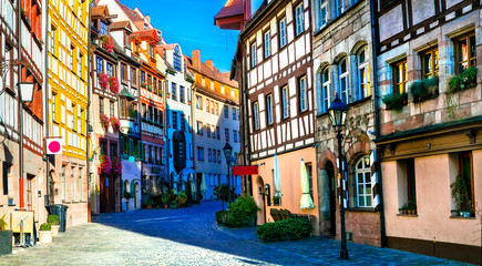 Fototapete - Traditional half-timbered houses in old town of Nurnberg. Travel in Germany