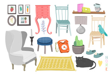 Hand drawn furniture and various interior objects. Colored vector set. All elements are isolated