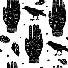 Hand drawn palmistry vector seamless pattern