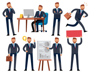 Cartoon businessman. Business professional man in different office work situations. Vector characters set