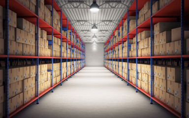 Rows of shelves with goods boxes in modern industry warehouse. 3d rendering